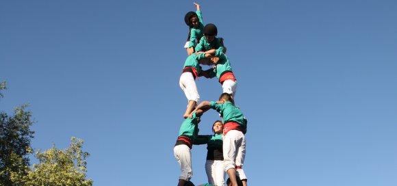 Pom de dalt del segon 3d7 dels Castellers de Lo Prado