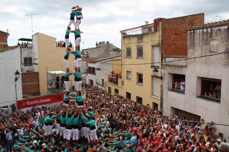 Els Castellers de Vilafranca a l'actuació de la Bisbal el 2010