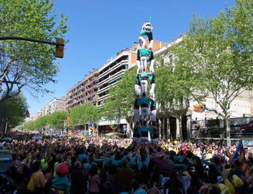 Els Castellers de Vilafranca descarreguen la clàssica de vuit en la manifestació pels presos polítics a Barcelona